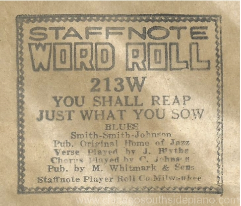 """Clarence """"Jelly"""" Johnson Player Piano Rolls Part 1 – Jazz and Blues"""