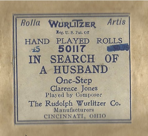 Clarence M  Jones Player Piano Rolls Part 1 – Ragtime and Other